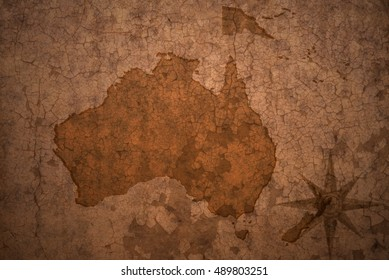 oceania map on a old vintage crack paper background