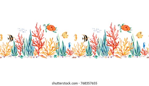 Oceanic creature seamless repeat border with cute turtle,seaweed,coral reef,fishes,seahorse etc.Underwater creature.Perfect for invitations,party decorations,printable,craft project,greeting cards.