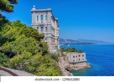 Oceanographic museum (Musee Oceangraphique) on a cliff above the sea in Monaco