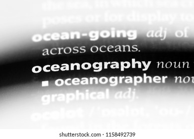oceanography word in a dictionary. oceanography concept.