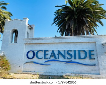 Oceanside, CA - August 3, 2020: Oceanside sign near current city hall and old town area.