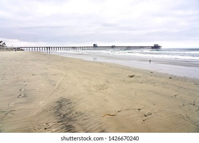 OCEANSIDE, CALIFORNIA - 2 JUNE 2019: Oceanside sea view and pier bridge playground morning time.