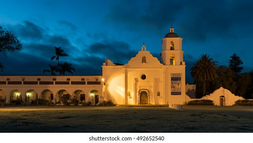 OCEANSIDE, CALIFORNIA - AUGUST 6: Mission San Luis Rey de Francia at night on Mission Avenue on August 6, 2016 in Oceanside, California