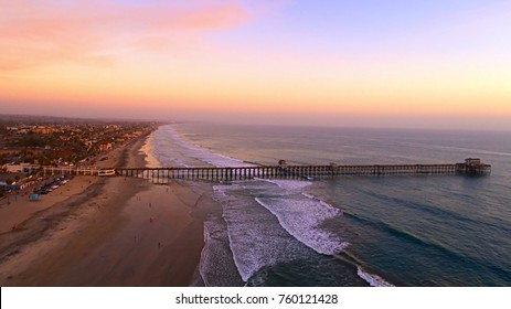 Oceanside, California.  Longest wooden pier on the west coast during sunset.