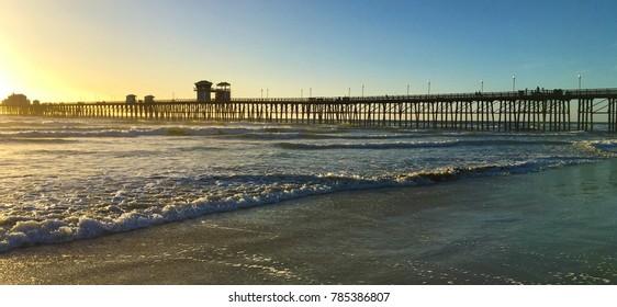 Oceanside California Pier panoramic at sunset