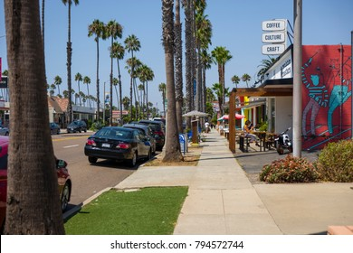 Oceanside, CALIFORNIA, UNITED STATES - August 30th, 2017. South Oceanside is a tourist destination with its brightly colored buildings and many shops just blocks from the beach.