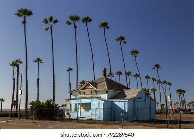 OCEANSIDE, CALIFORNIA, UNITED STATES - JANUARY 11, 2018: Graves House historic ocean front cottage and site of Top Gun movie scenes between Tom Cruise and Kelly McGillis filmed in 1985