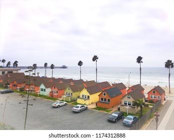 Oceanside, California / United States - September 3, 2018 : Oceanside Beachfront cottages and pier