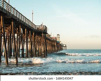 Oceanside, California / USA - March 25, 2020: Sunrise at Oceanside Pier