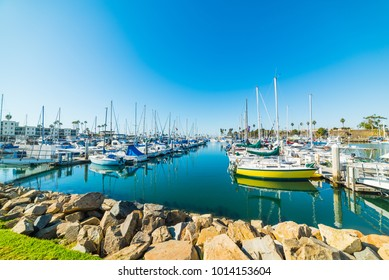 Oceanside harbor under a blue sky. California, USA