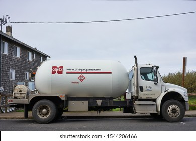 Oceanside, Oregon, USA - Oct 25, 2019: A Cenex propane truck is seen parked on the roadside. CHS Inc. is a Fortune 100 business owned by United States agricultural cooperatives, farmers, and ranchers.