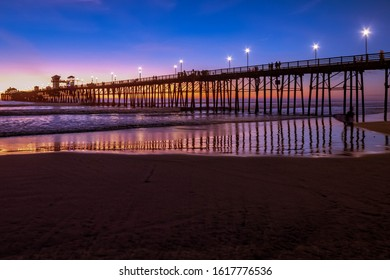 Oceanside pier in late summer night after the sunset in oceanside California.