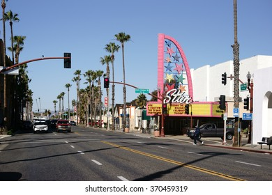 OCEANSIDE, UNITED STATES - DECEMBER 25: The Ocean Highway in Oceanside with traffic and views of the theater on December 25, 2015 in Oceanside / Coast Highway Oceanside