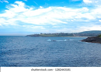 Oceanside view with cloudy sky at Wollongong, New South Wales, Australia.