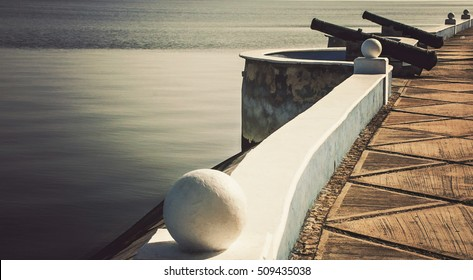 Ocean-Side Walk Way With Cannons and Historic Wall (Campeche, Mexico).