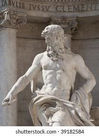 Oceanus statue in the Trevi Fountain, Rome, Italy