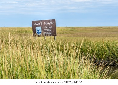 Oceanville, NJ - Oct. 2, 2020: Sign for the Edwin B. Forsythe National Wildlife Refuge amid the sea grasses at the end of Scotts Landing Road.