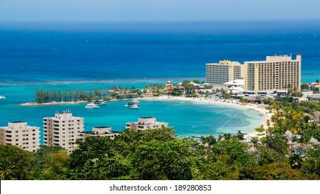 Och Rios Jamaica Bay. Ocho Rios bay, Jamaica as seen from the mountains.