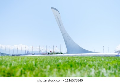 ochi, Adler, Russia, 13 June 2018: Landmark Olympic Torch in Olympic park in summer, side view, 13 June 2018.