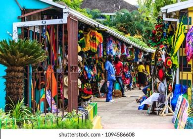 Ocho Rios, Jamaica - February 20, 2018: Souvenir street market.jpg