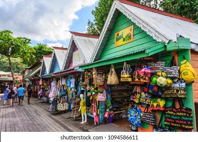 Ocho Rios, Jamaica - February 20, 2018: Souvenir Shops. Street market in Jamaica.