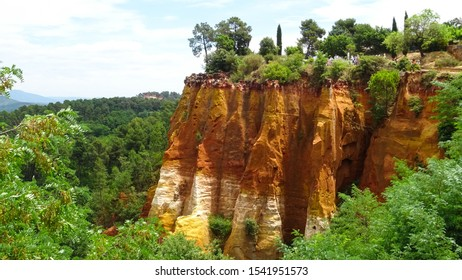 Ochre trail (Le Sentier des Ocres), popular touristic place to see orange colored ochre cliffs and beautiful natural scenery near Roussillon town Luberon Valley in Provence region, France, Europe