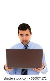 Oclose up of Man in a formal shirt with laptop