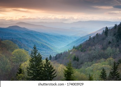 Oconaluftee Valley Scenic Sunrise Overlook Great Smoky Mountains National Park