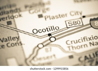 Ocotillo. California. USA on a map
