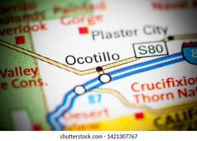 Ocotillo. California. USA on a map