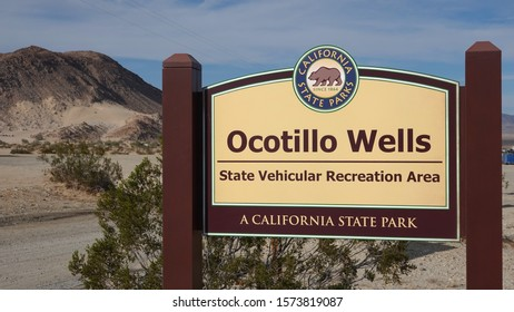 Ocotillo Wells, CA / USA - November 26, 2019: Sign for the Ocotillo Wells State Vehicular Recreation Park, a site dedicated to off-road motor sports.