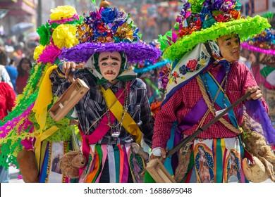 Ocozocoautla de Espinosa, Chiapas/Mexico; February 23rd 2020: Some disguised people dancing and having fun in Carnaval Zoque Coiteco