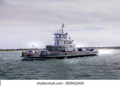 Ocracoke, North Carolina / USA - October 9 2020: NCDOT Ferries operating in the Hatteras Inlet