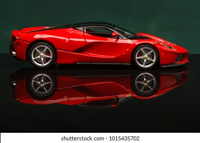OCT 04 - Toy ferrari laferrari on background. Photo made in the studio, Sunday 04 October 2015  Photo made in the studio, background is not changed.