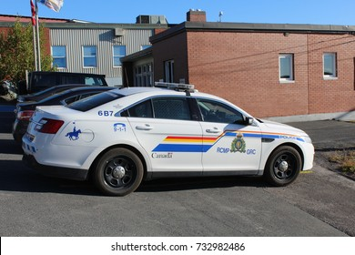 Oct. 12, 2017 - Clarenville Newfoundland - RCMP Royal Canadian Mounted Police cruiser car parked at the provincial court house in Clarenville Newfoundland & Labrador Canada