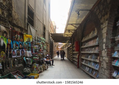 OCT. 12, 2019-CAIRO EGYPT : Stalls selling various kinds of dry goods at an alley way in Cairo in Egypt.