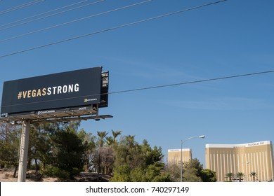 OCT 13 2017 LAS VEGAS NV: # Vegas Strong billboard with the Mandalay Bay hotel in the background, referring to the largest mass shooting in US history on the Las Vegas Strip at the music festival