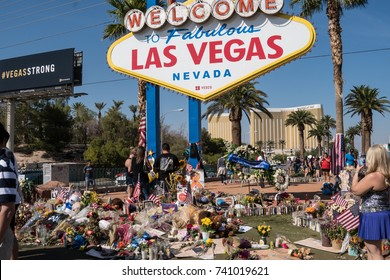 OCT 13 2017 - LAS VEGAS, NV: A Memorial near the Welcome to Las Vegas sign for Las Vegas Shooting victims on the Las Vegas Strip Near the Mandalay Bay, during the Route 91 Harvest Music Festival