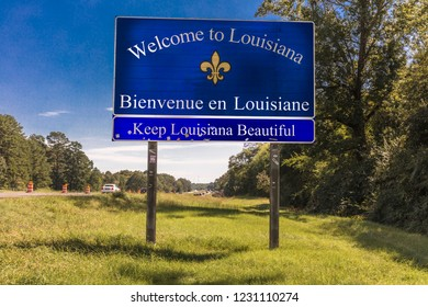 OCT 13, 2018, Louisiana, USA - Welcome to Louisiana State Sign - Bienvenue en Louisiane - Keep Louisiana Beautiful