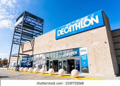 Oct 18, 2019 Emeryville / CA / USA - Exterior view of Decathlon Sporting Goods flagship store, the first open in the San Francisco bay area, near Oakland