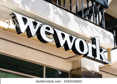 Oct 20, 2019 San Jose / CA / USA - WeWork logo at on of their office buildings located in Silicon Valley; WeWork is an American company that provides shared work spaces