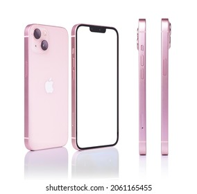 Oct 20, 2021 Bangkok, Thailand : blank screen of iPhone 13 colorful Isolated on white background. Thailand. front and back view, side view smartphone