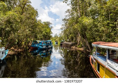 Oct 2017, Tanjung Puting National Park, Kumai, Borneo, Indonesia: Klotok floating on the black water river just outside of Camp Leakey, the most famous feeding station for Orangutans inside the park