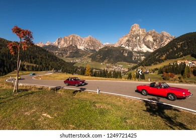 Oct. 2018, Alta Batia, Abbey, Dolomites, South Tyrol, Italy, Vintage car Corso in the Dolomites, autumn, sun