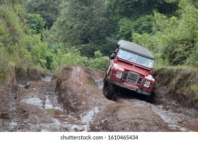 Oct 22, 2017. Bandung, West Java, Indonesia. Old Classic 4x4 Landrover Series Offroading on Extreme Road at Lembang, West Java, Indonesia