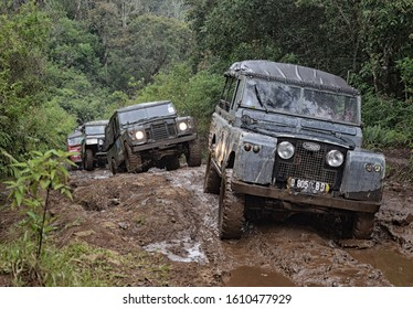 Oct 22, 2017. Bandung, West Java, Indonesia. Old Classic 4x4 Landrover Series Offroading After Rainy Day at Lembang, West Java, Indonesia