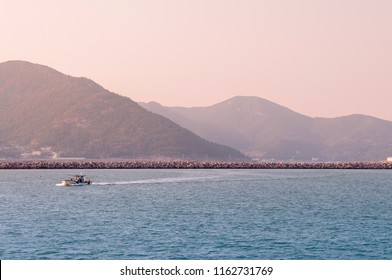 OCT 26, 2013 Yeosu, South Korea - Yeosu harbor mountain and port, famous natural view on sightseeing cruise route