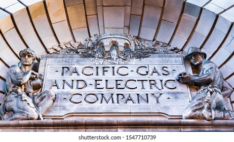 Oct 26, 2019 San Francisco / CA / USA - Close up of PG&E ( Pacific Gas and Electric Company) sign at their historical headquarters in downtown San Francisco;