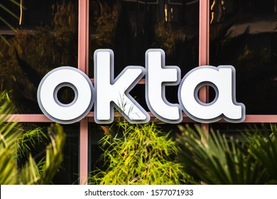 Oct 26, 2019 San Francisco / CA / USA - Close up of OKTA logo at their headquarters in SOMA district; Okta, Inc. is an American identity and access management company