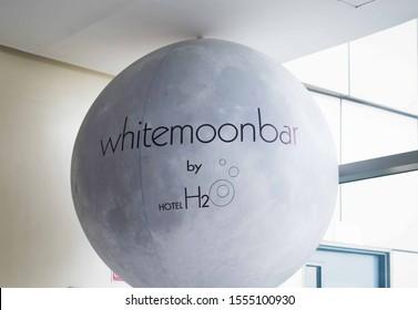 OCT. 26, 2019-MANILA PHILIPPINE : Singage of the whitemoonbar inside H2O hotel on a huge white baloon. H2O is hotel is the hotel inside the Manila Ocean Park in Manila Philippines